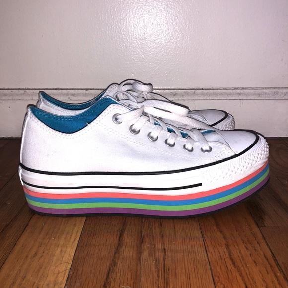 6a26d8da49ed Converse Shoes - CONVERSE WHITE W  RAINBOW PLATFORM - WOMEN S 8